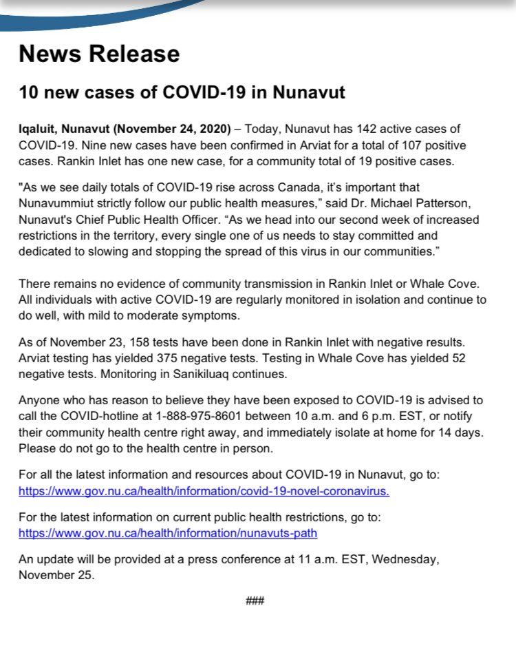 Today's new numbers. 10 new cases, Arviat and Rankin Inlet.
