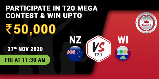 #NZvWI We're anticipating a cracker 💥 of a contest when these two powerhouses 💪 collide!  Make your #Bigcash 👉 . Join the action on 27th Nov at 11;30 AM   #T20 #YeApnaGameHai