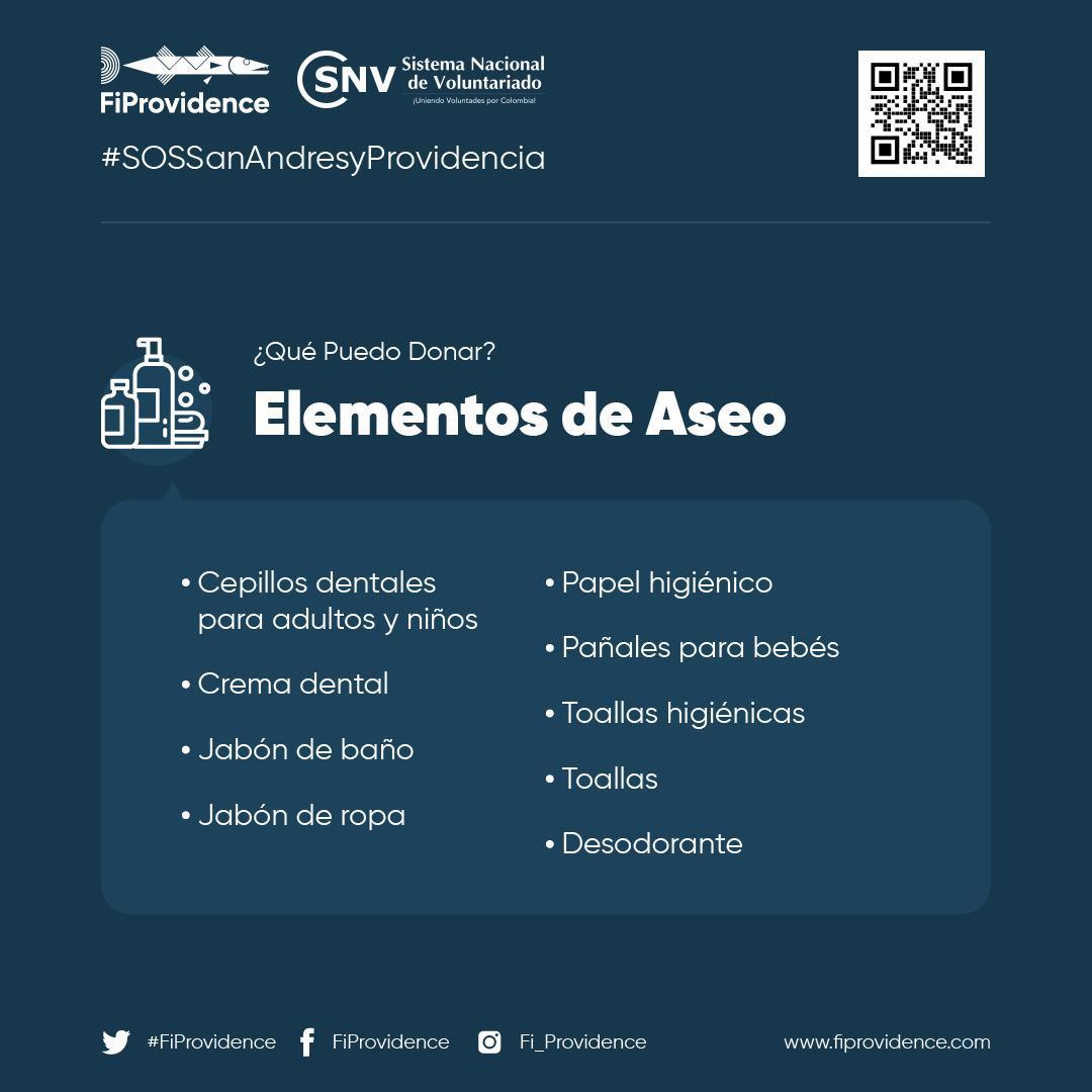 #SOSSanAndresyProvidencia #FiProvidence | ¿Qué elementos de aseo personal puedes donar para solidarizarte con las personas afectadas por el #HuracánIota?  Recuerda visitar  y sé parte del cambio. #ColombiaCuidaColombia