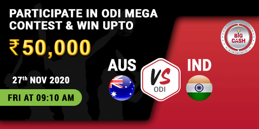 Presenting to you the #AUSvIND Mega Contest! 👏🏼 🥁  You could be the next victor, make your #Bigcash for #ODI NOW! 👉🏼  Join the action on 27th Nov at 9:10 AM Pool prize - ₹ 50,000  #YeApnaGameHai #cricket #fantasy #match