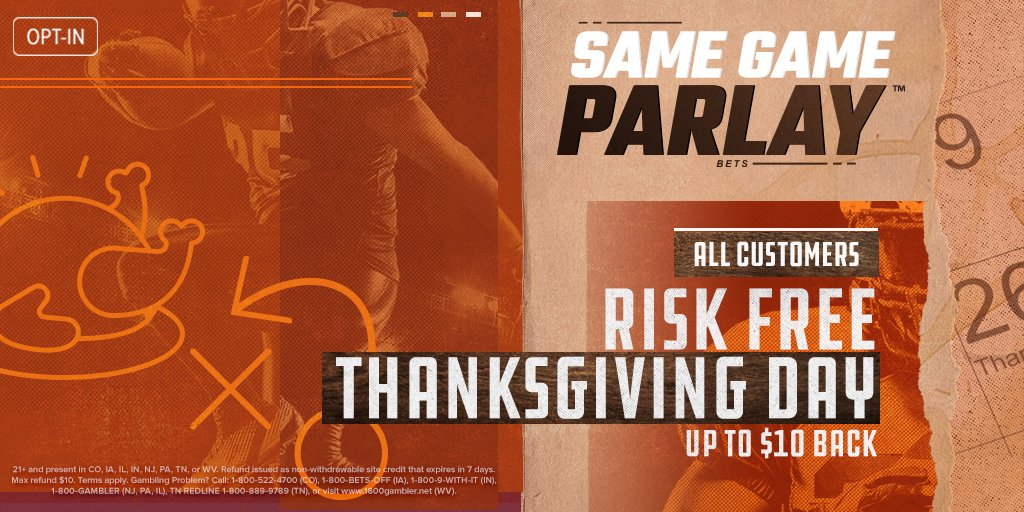 🦃 𝗥𝗶𝘀𝗸-𝗙𝗿𝗲𝗲 𝗦𝗮𝗺𝗲 𝗚𝗮𝗺𝗲 𝗣𝗮𝗿𝗹𝗮𝘆 🦃  Place a #SameGameParlay with 3+ legs on any Thanksgiving Day NFL game.  If you don't win, we'll refund your bet up to $10 in site credit! 💰  * Opt in required - Max refund $10 *  Full details: