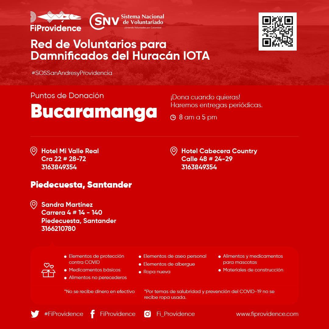#SOSSanAndresyProvidencia |📣 Si estás en #Bucaramanga todavía puedes ayudar a los miles de afectados por el #HuracánIota. Estos son los puntos de donación de @FiProvidence ¡Cada aporte suma! . Visita 👉 y sé parte del cambio. #ColombiaCuidaColombia