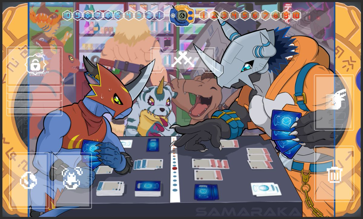 It is done, my very own made #Digimontcg PLAYMAT! inspired by my favorite and very useless option card. Its me playing with my 3 friends: Rawa - Flamedramon @NBDArtworks - Gabumon @SolaceXCIX -Agumon also i fucked up the size a bit so i made a digivice frame.