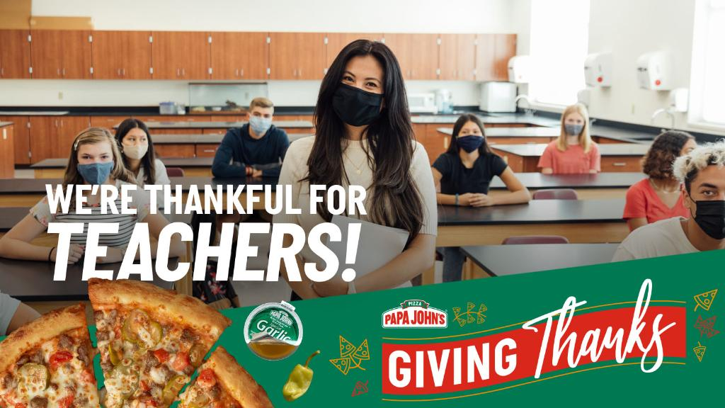 We can all agree teachers deserve our thanks every day, but especially during the holidays! Tell us about a teacher you're grateful for and they could get a free pizza delivered right to their door! https://t.co/kfrq3KpY7v