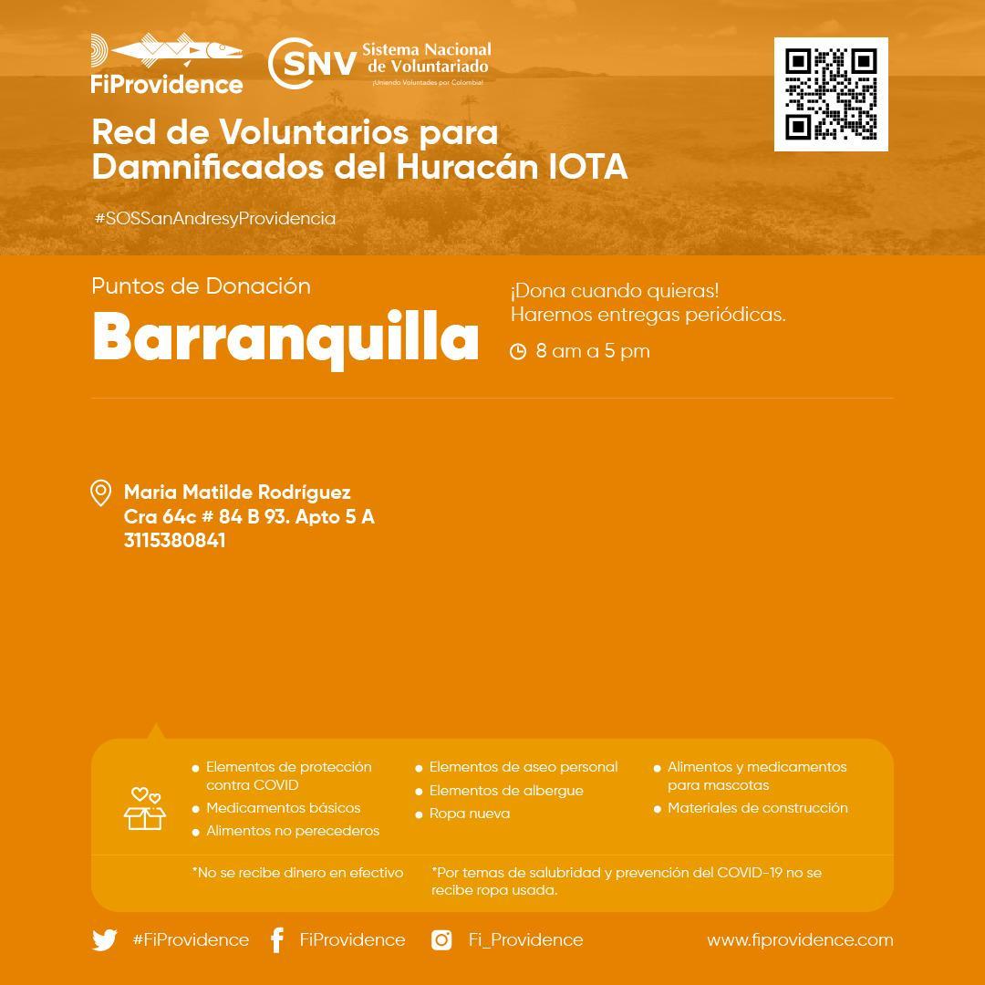 #SOSSanAndresyProvidencia | 📣 @FiProvidence ha habilitado un punto de donación en #Barranquilla para que apoyemos a las personas y a los animales que resultaron afectados por el paso del #HuracánIota. . Visita 👉  #ColombiaCuidaColombia