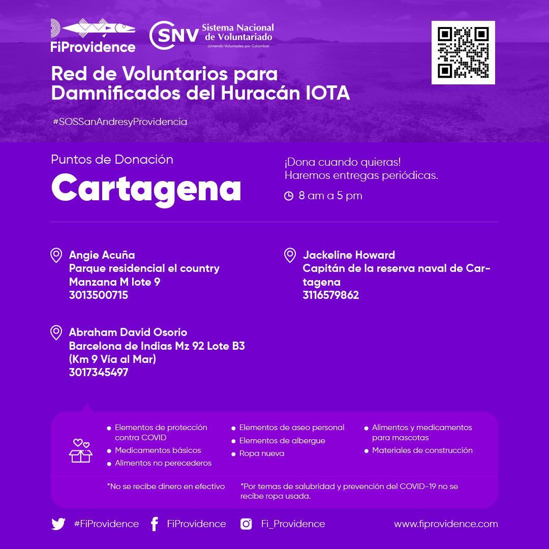 #SOSSanAndresyProvidencia |📣 #Cartagena se solidariza con las personas afectadas por el #HuracánIota. Realiza tu donación en cualquiera de los 3 puntos habilitados en la ciudad por @FiProvidence  . Visita 👉  y sé parte del cambio. #ColombiaCuidaColombia