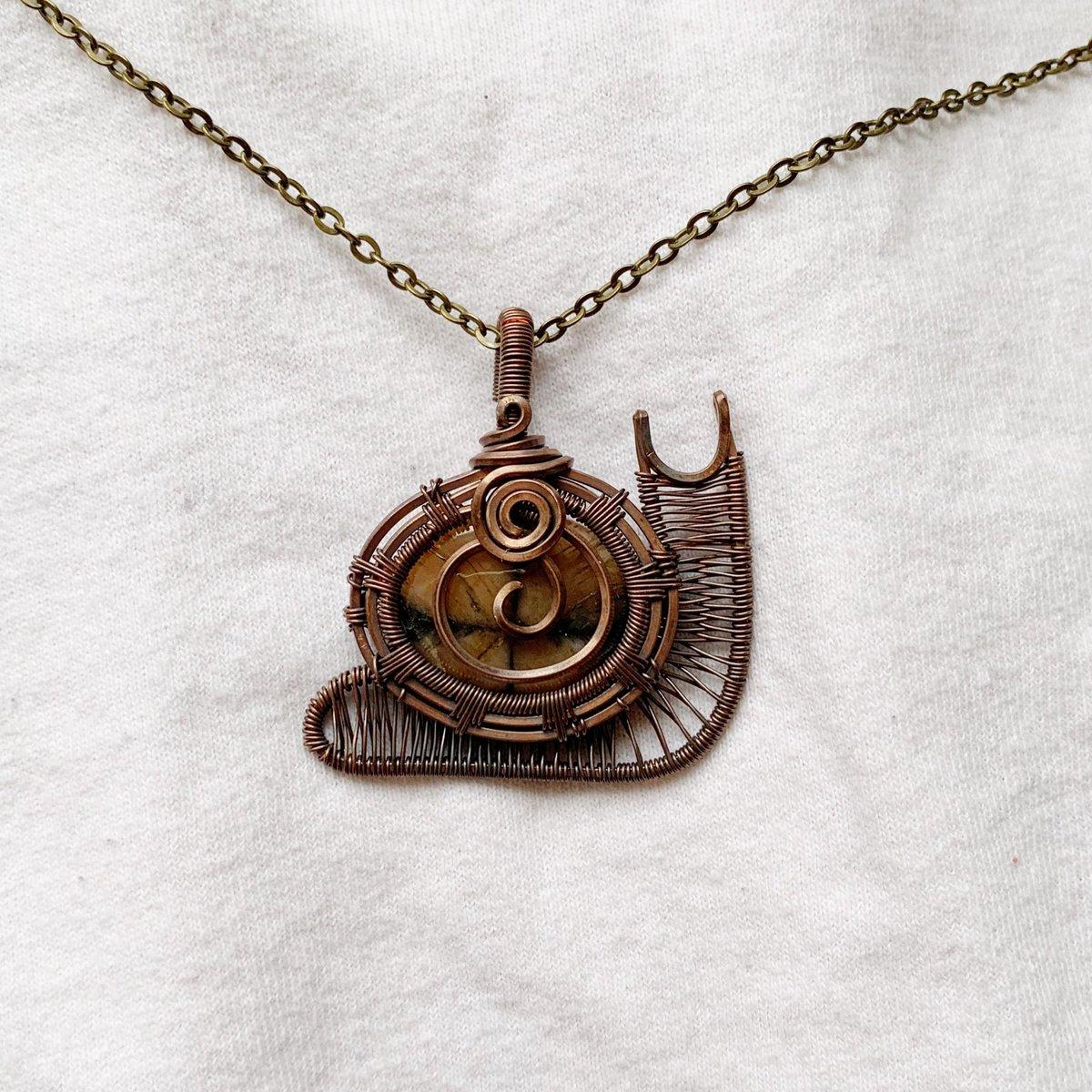 chiastolite snail pendant 🐌🌿 handmade by me :)