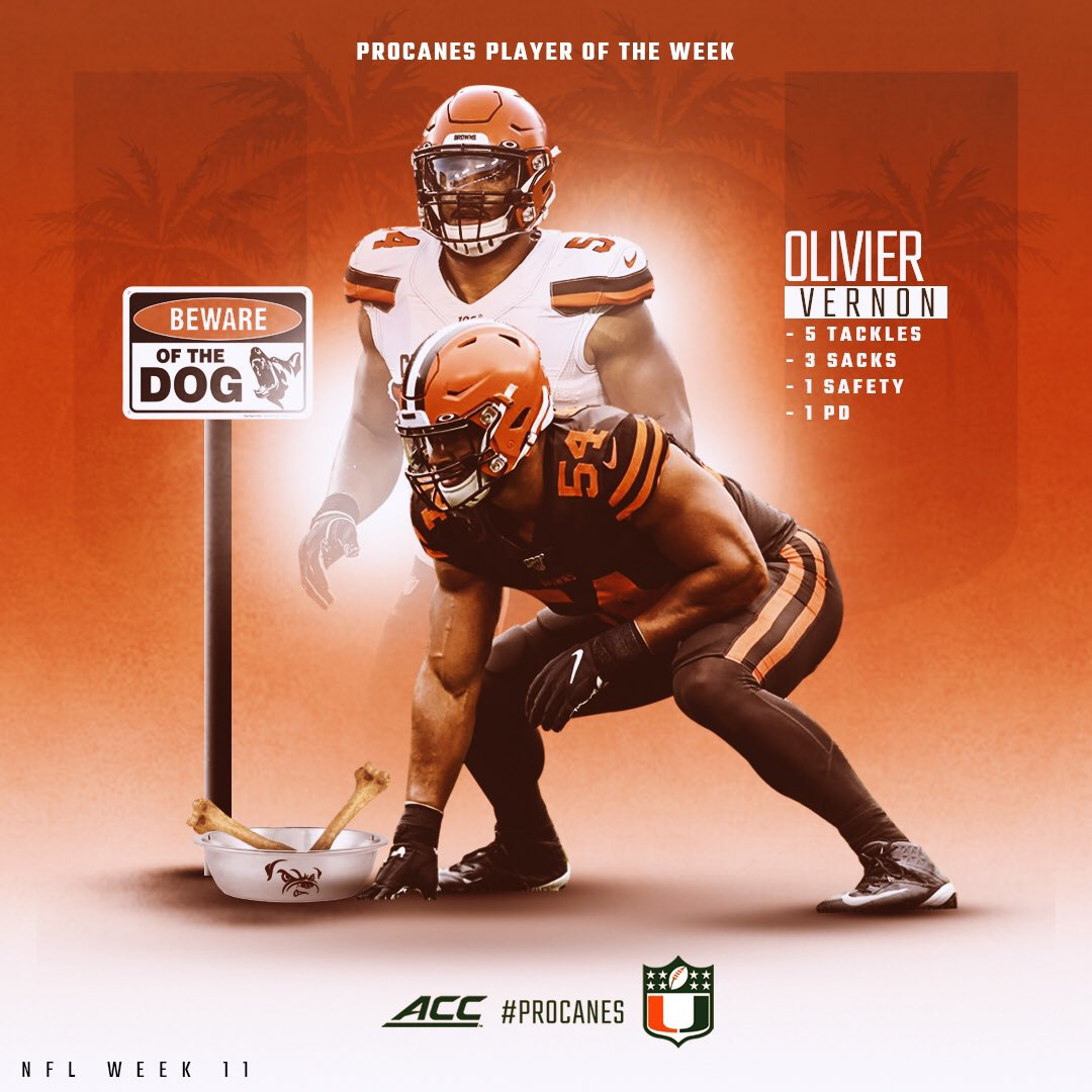 Presenting your #proCane Player of the Week #Browns DE @oliviervernon54 who had a MONSTER game vs #Eagles. #NFLU #DLU https://t.co/SgwOOfrGGF