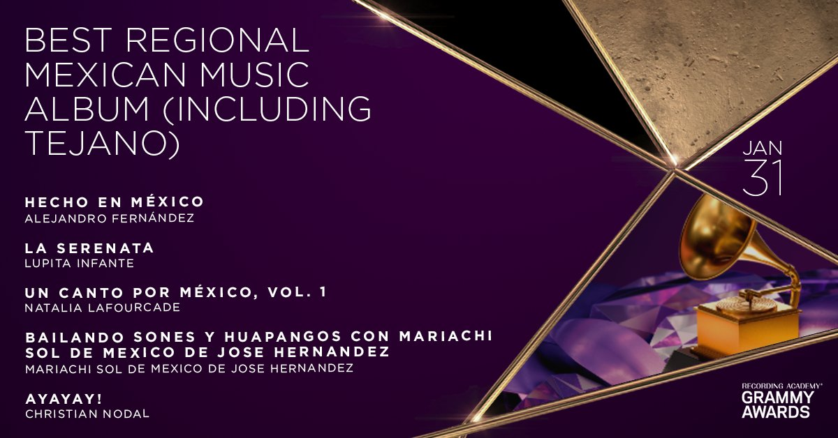 Congratulations 63rd #GRAMMYs Best Regional Mexican Music Album (Including Tejano)nominees: @alexoficial, @lupitainfantexo, Natalia @Lafourcade, Mariachi Sol De Mexico De Jose Hernandez, and Christian Nodal (@elnodal):