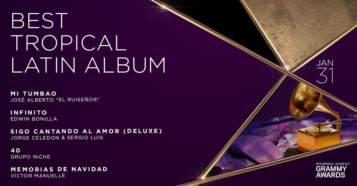 "Congratulations 63rd #GRAMMYs Best Tropical Latin Album nominees: José Alberto ""El Ruiseñor"", @edwin_bonilla, @jorgitoceledon & @sergioluisr09, @gruponiche, and @VictorManuelle:"