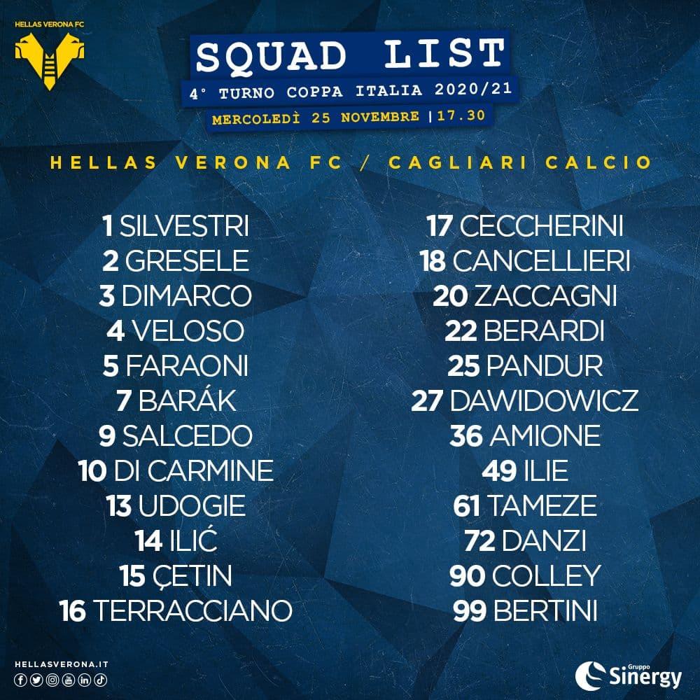 📝 Ecco i 2️⃣4️⃣ convocati di mister #Juric per #CagliariVerona 🏆🇮🇹🟡🔵 #DaiVerona #CoppaItalia