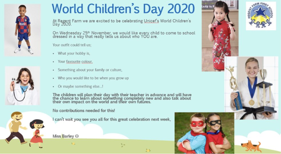 Can't wait to see all of your outfits tomorrow for World Children's Day! We'd love everyone to dress in a way that tells us a little more about them. The children themselves have planned some wonderful activities to celebrate the day! Thanks for your support 😊 https://t.co/BeSqa3QN9H