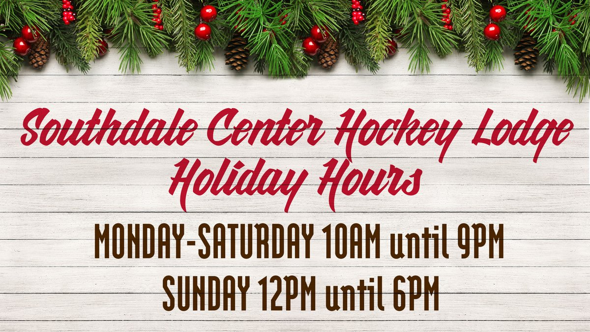 .@southdalecenter Hockey Lodge will be open extended hours for the Holidays! https://t.co/VU3Ms9krC5