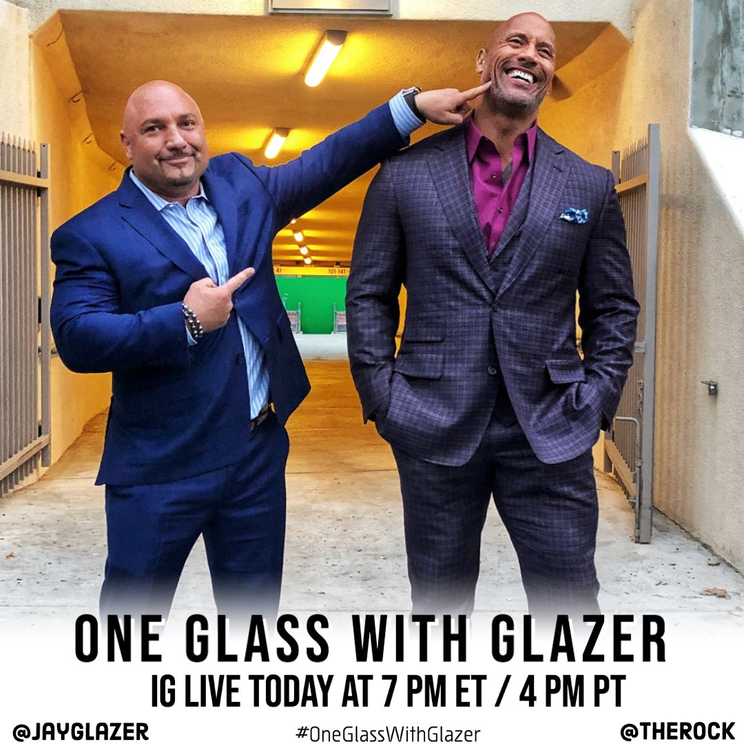 I have this guy. Yes, this guy right here on #OneGlassWithGlazer today at 7 PM ET / 4 PM PT @TheRock is the hardest working person in every room on the planet! My brother will be stopping by today sipping on some @Teremana, so tune in! Drop any questions for him in the comments!
