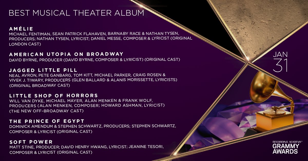 Congratulations 63rd #GRAMMYs Best Musical Theater Album nominees: Amélie, @americanutopia, @jaggedmusical, @littleshopnyc, The Prince of Egypt, and Soft Power: grm.my/3l8hXdu