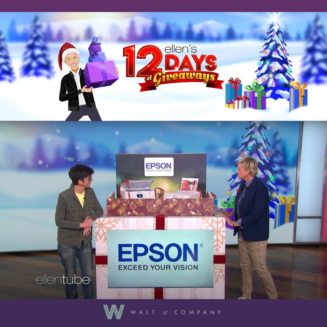 It's the most wonderful time of the year! Client @EpsonAmerica's #EcoTank #printer was gifted on Day 2 of @TheEllenShow's #12DaysofGiveaways! Watch it here:  #HolidayGiveaway #ClientCoverage
