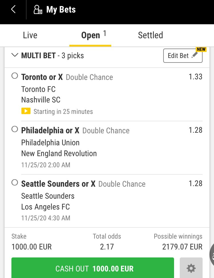 MLS parlay! I actually think that all three hosts can win their matches but let's play it a step safer ;)   Toronto - Nashville (1X) Philadelphia - New England (1X) Seattle - LA FC (1X) https://t.co/LvCTrLEiJ4