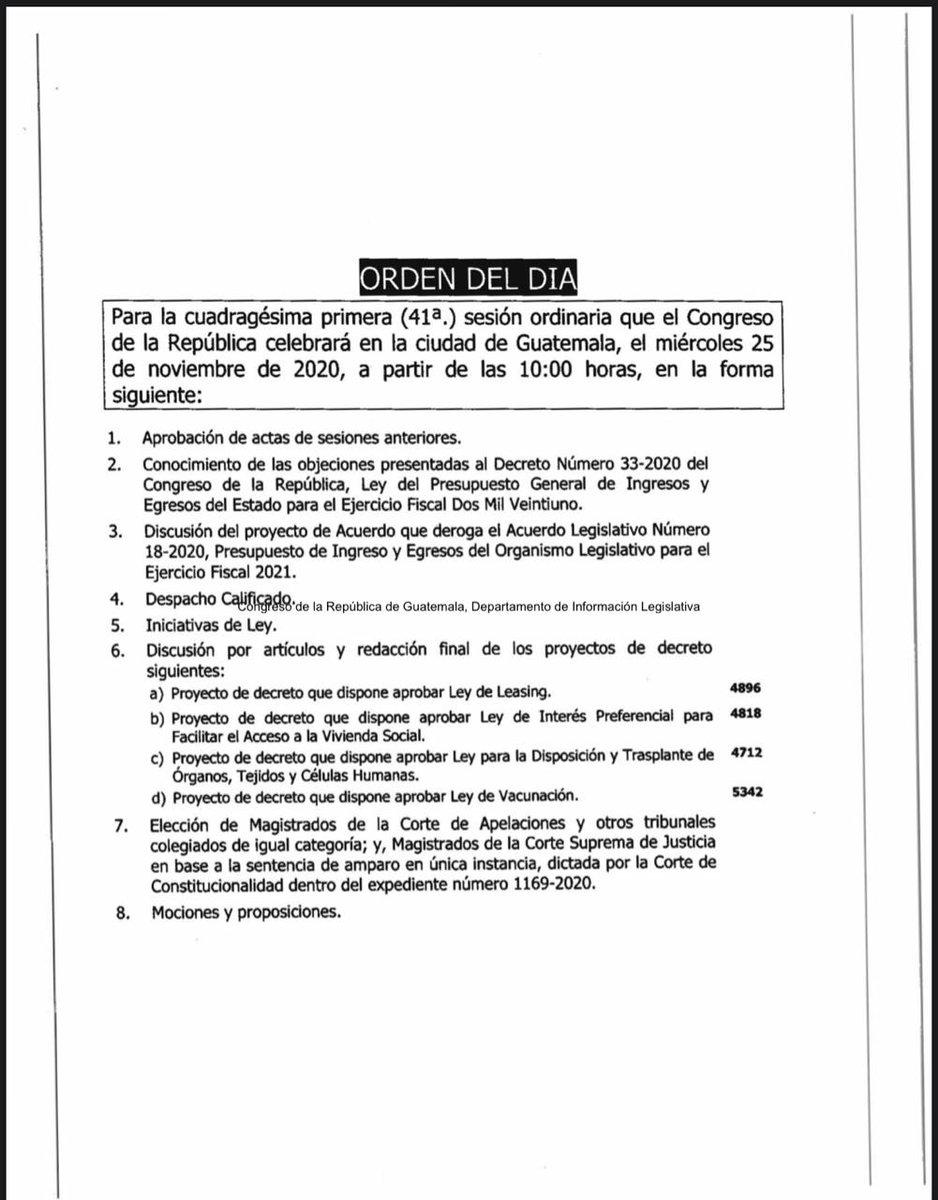 test Twitter Media - Estas son las agendas aprobadas para las sesiones del miércoles y jueves, que se realizarán en el Centro Cultural Miguel Ángel Asturias. Mañana se contempla discutir el Presupuesto 2021, para que sea archivado y no entre en vigor. https://t.co/MCPSwnHDW1
