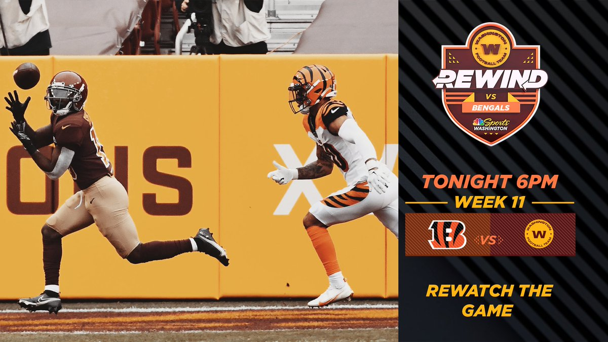 Turn on your 📺 – 𝐖𝐚𝐬𝐡𝐢𝐧𝐠𝐭𝐨𝐧 𝐅𝐨𝐨𝐭𝐛𝐚𝐥𝐥 𝐑𝐞𝐰𝐢𝐧𝐝 vs Bengals, with additional commentary from @JPFinlayNBCS, @BMitchliveNBCS and @realweshall, starts right NOW!