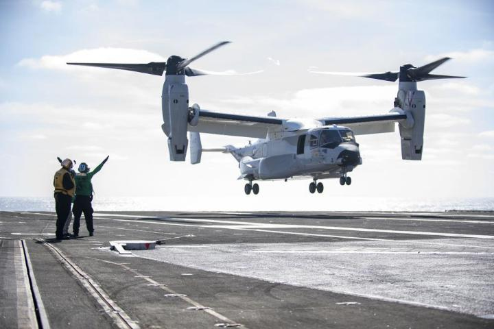 """Making history! #FlyNavy A CMV-22B Osprey from the """"Titans"""" of Fleet Logistics Multi-Mission Squadron (VRM) 30 lands aboard #USSCarlVinson while operating in the Pacific Ocean. This evolution marked the first time the #USNavy's CMV-22B Ospreys have landed on a carrier."""