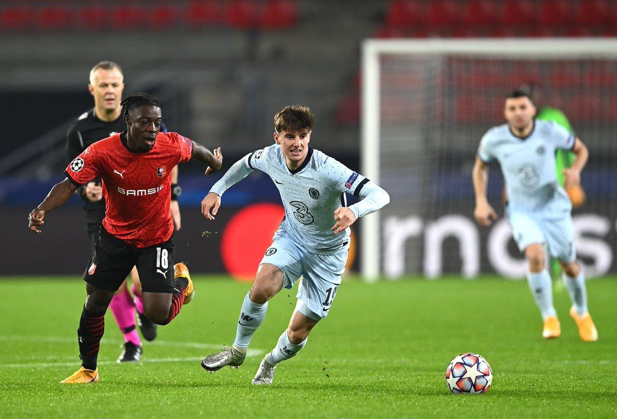 Image for the Tweet beginning: #UCL - HALFTIME:  Rennes 0-1 Chelsea Krasnodar