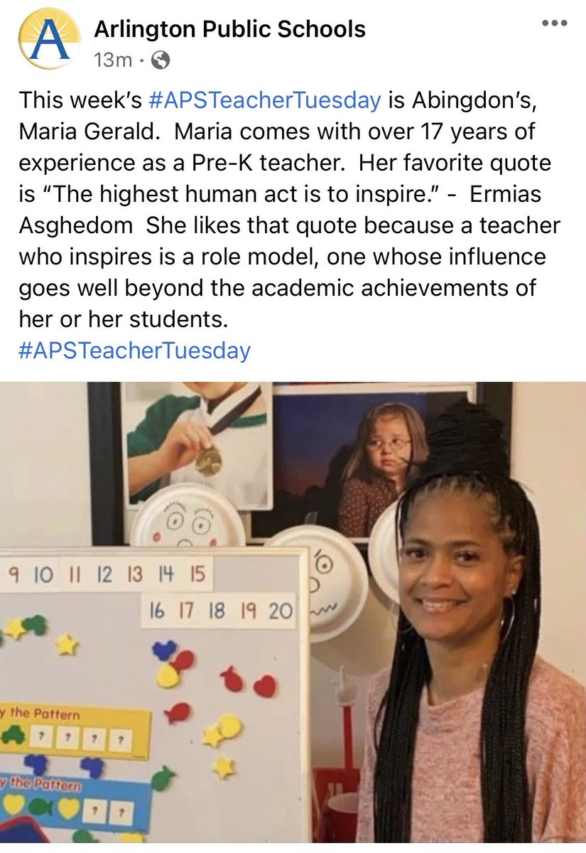 One of our incredible Pre-K teachers, Ms. Gerald is featured as part of <a target='_blank' href='http://search.twitter.com/search?q=APSTeacherTuesday'><a target='_blank' href='https://twitter.com/hashtag/APSTeacherTuesday?src=hash'>#APSTeacherTuesday</a></a>!  <a target='_blank' href='http://twitter.com/AbingdonElem'>@AbingdonElem</a> <a target='_blank' href='http://twitter.com/AbingdonPTA'>@AbingdonPTA</a> <a target='_blank' href='https://t.co/4liQUq2fI7'>https://t.co/4liQUq2fI7</a>