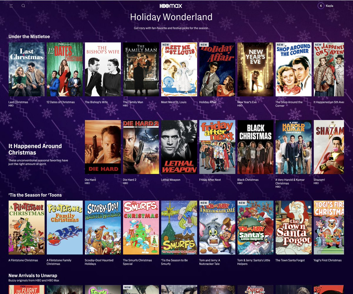 .@HBOMax to launch Holiday Wonderland spotlight page with holiday favorites on Tuesday, Dec. 1, featuring 200 hours of programming including #MyGift: A Christmas Special from @CarrieUnderwood, #12DatesHBOMax, A Christmas Carol and much more: