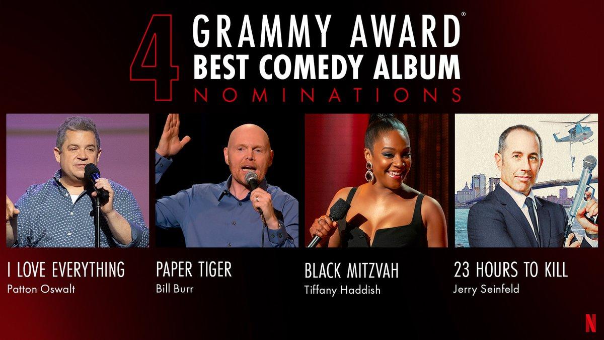 Celebrating 4 Best Comedy Album Nominees @pattonoswalt, @billburr, @TiffanyHaddish, & @JerrySeinfeld! #GRAMMYs