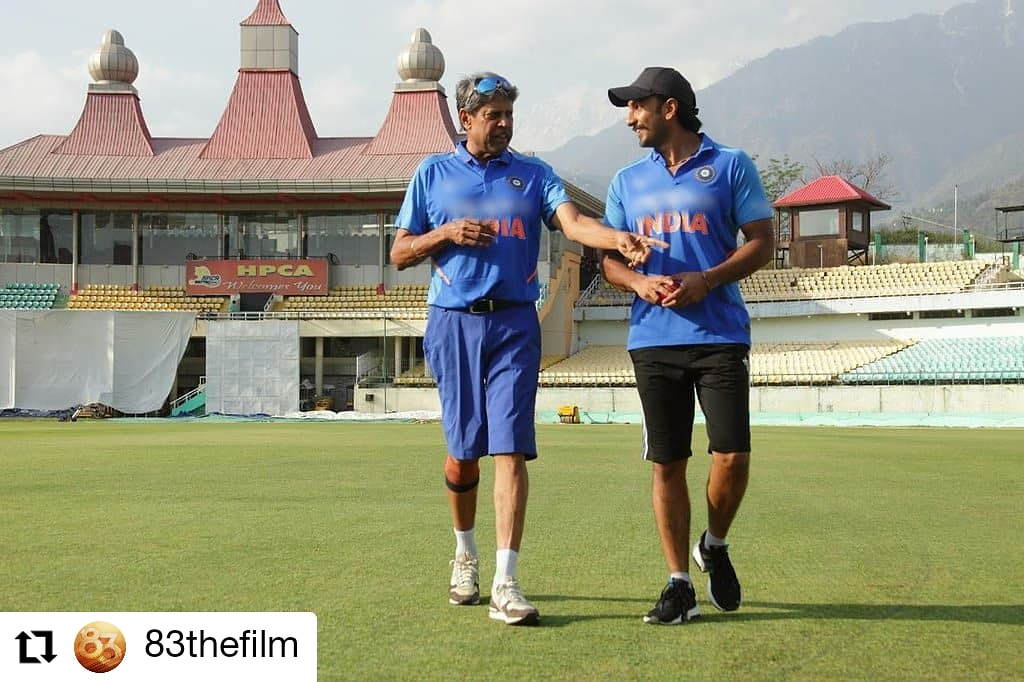 #83thefilm @83thefilm • • • • • • Aye, Aye captain! The Real and the Reel captains train hard at Dharamshala! 🏏 #Relive83 #Dharamshala #Kangra #BootCamp #Training #83thefilm #Sports #Cricket #Cricket🏏 #1983WorldCup #WorldCup #Pitch #RanveerSingh #KabirKhan #Bollywood