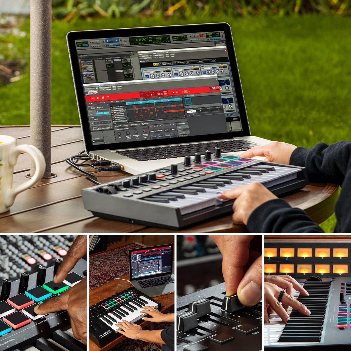 The M-Audio Oxygen Pro series controllers are equipped to take your music production to the next level with Smart Controls, Auto-Mapping, RGB Pads, Arpeggiator and more! Learn More: