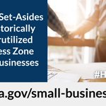 HUBZone Small Businesses may be eligible for set-asides in federal contracts. For #SmallBusinessSaturday, learn how GSA can help your #SmallBusiness: https://t.co/tmQIKN1tfF @SBAGov @GSAOSDBU #ShopSmall