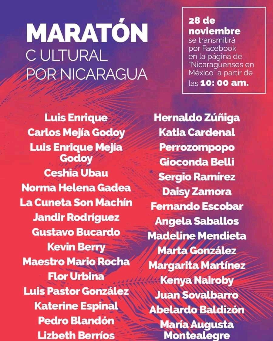 Así de nutrida la participación de nuestro #MaratónCultural por #Nicaragua. Gracias a todos los artistas y escritores nicaragüenses y mexicanos por sumarse. ¡Si sumamos más manos, cobijamos más corazones!