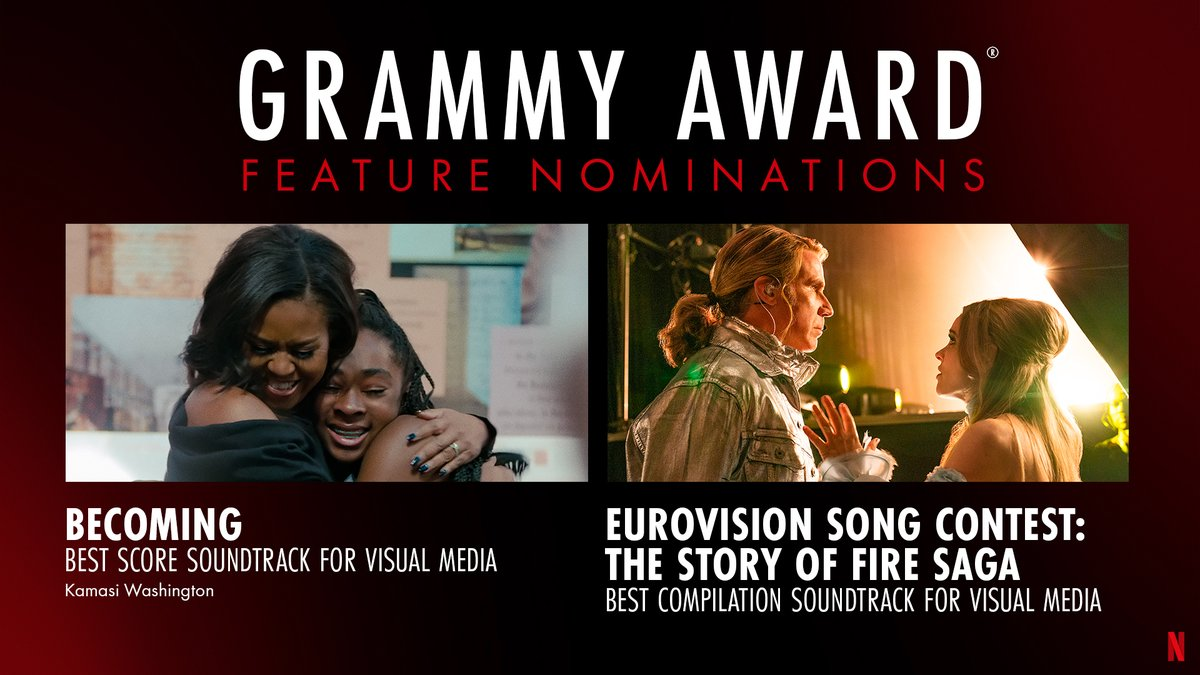 Celebrating Feature Nominations for Becoming (@KamasiW) and Eurovision Song Contest: The Story of Fire Saga! #GRAMMYs