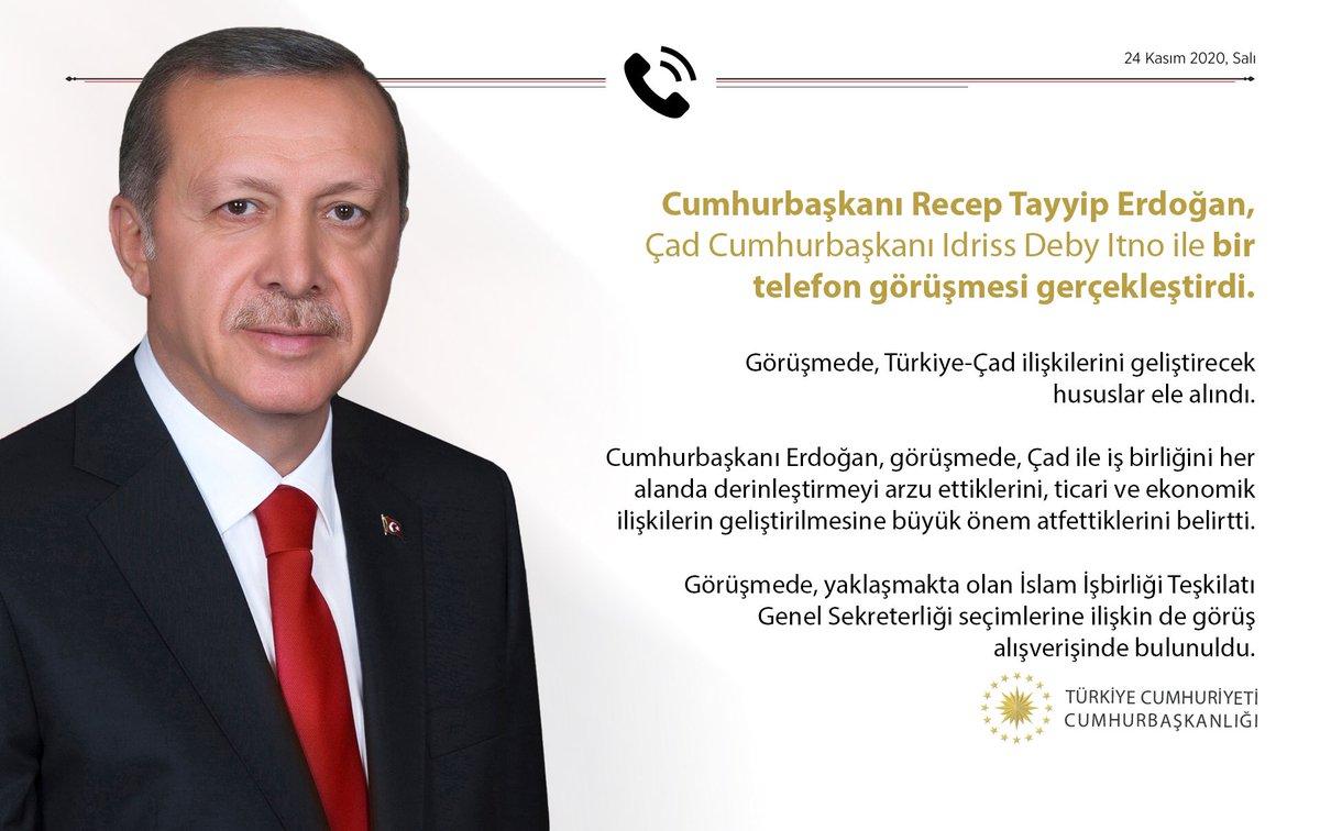 Cumhurbaşkanı @RTErdogan, Çad Cumhurbaşkanı Idriss Deby Itno ile bir telefon görüşmesi gerçekleştirdi.