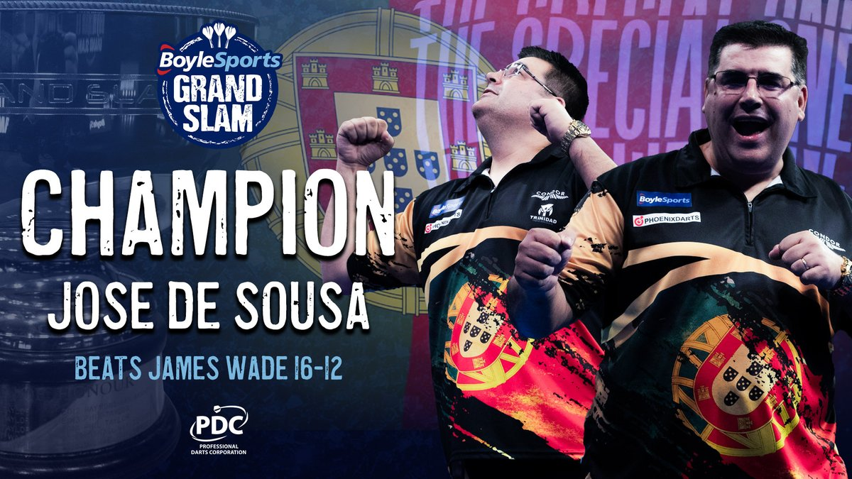 THE SPECIAL ONE 🏆  Jose De Sousa is the 2020 @BoyleSports Grand Slam of Darts Champion!  🇵🇹 The Portuguese star beats James Wade 16-12 to win the Eric Bristow Trophy https://t.co/pIxBbT1iPW