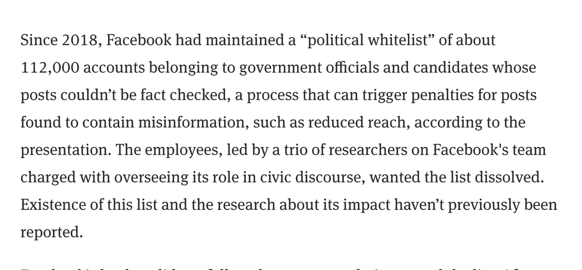 This is a big get from @alexeheath. More than 110,000 government government officials and candidates were on a Facebook whitelist that prevented them from being factchecked — and subsequently have their reach reduced — for spreading misinformation. https://t.co/dNTh5yMJCl https://t.co/aY4C4FAmMc