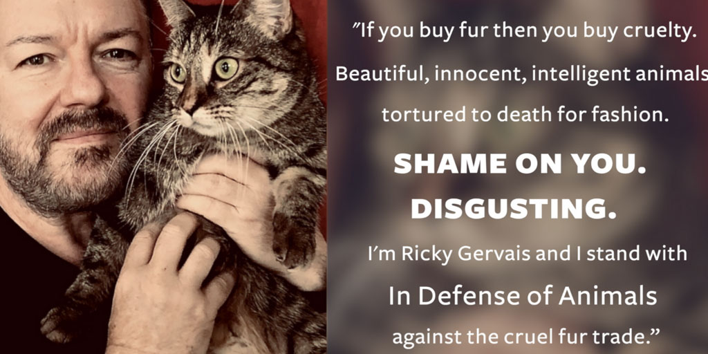 In Defense of Animals has joined forces with world-renowned animal advocate and celebrity comedian Ricky Gervais to educate shoppers about the true cost of fur & encourage major retailers to ban fur sales for Fur Free Friday on November 27.