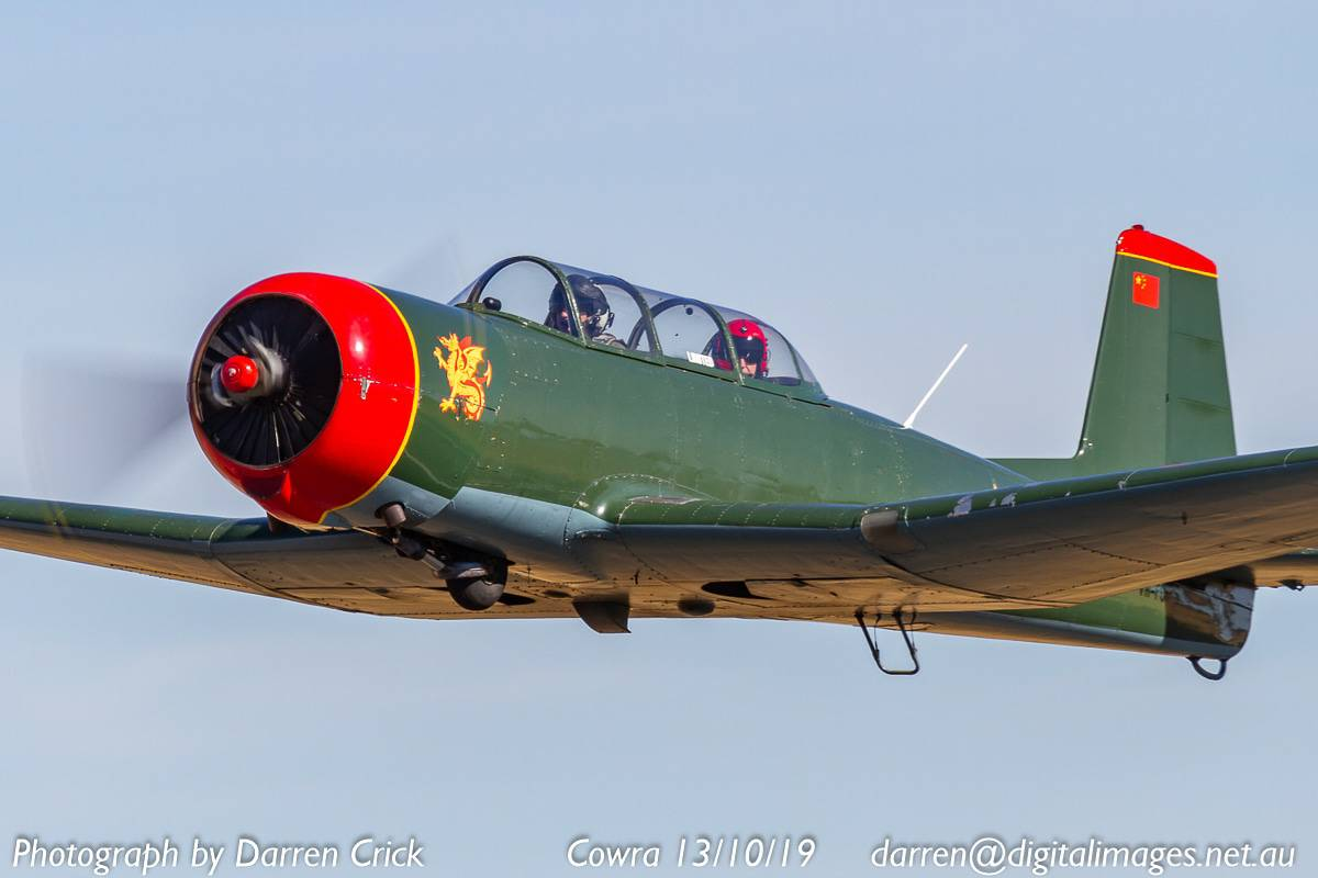 Nanchang CJ6A VH-FCF off on another flight with Red Radials at Cowra 13/10/19.  https://t.co/p9x7tow9nh  #avgeek #aviation #photography #Nanchang #cowra #rl19 #redradials #australia https://t.co/Zo0eb7tRCM