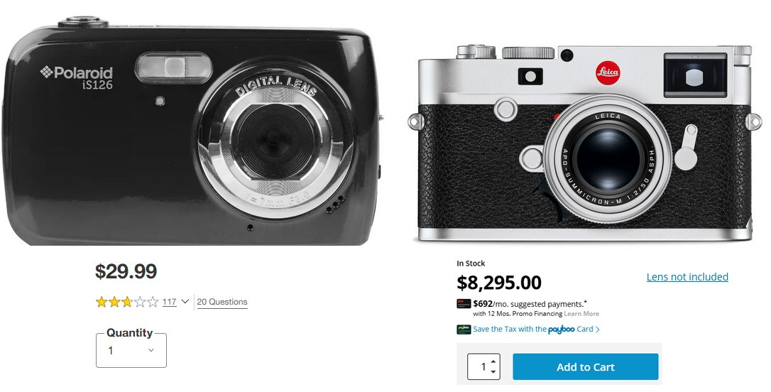 Why buy a Leica when you can get a Polaroid 16mp point and shoot WITH A DIGITAL LENS for $29.99. Good enough is good enough.   The Leica, for 8.3K, YOU DON'T EVEN GET A LENS! Scam! https://t.co/aznA2HqUKE   #leica #camera #photography #photographer #reddit #photoprints #costs https://t.co/sOduuvYQ34