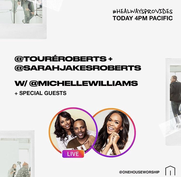 Join @RealMichelleW on IG live today with @toureroberts and @SJakesRoberts at 4PM PST! Check below for details. #HEALWAYSPROVIDES