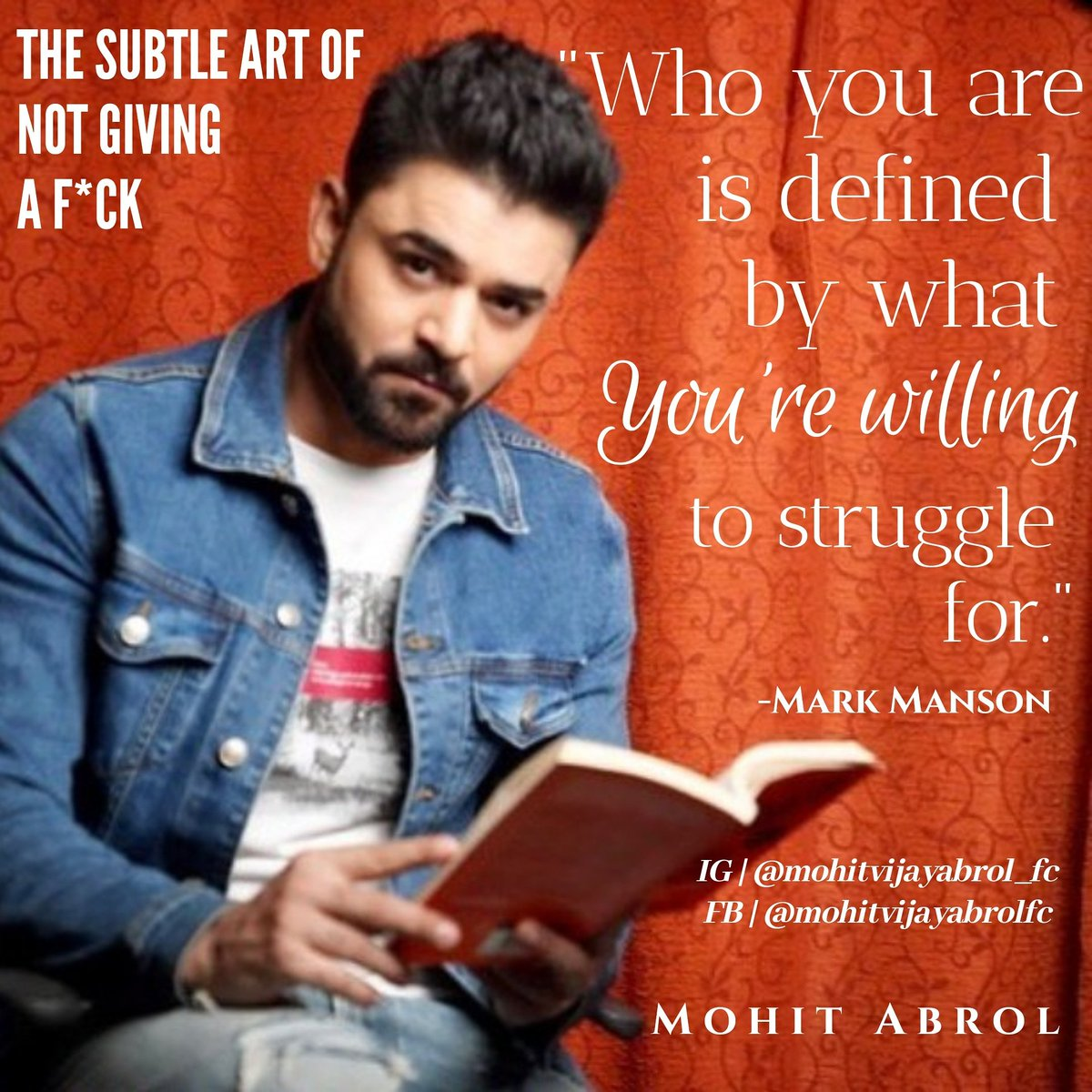 The Subtle Art Of Not Giving A F*ck #bookquotes @mohitvijayabrol  #markmansonquotes #thesubtleartofnotgivingafuck  #actor #actorslife #mohitabrol  #book #booklover #love #lovequotes #quotestoliveby #quoteoftheday #photography #quarantine #quarantinelife #quarantinemood https://t.co/x4tgf7mzFh