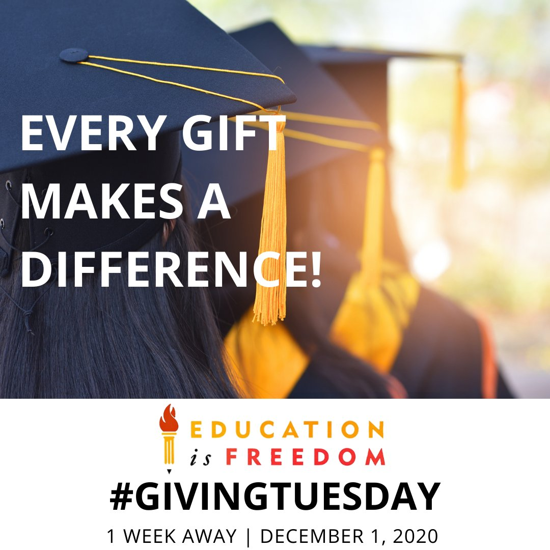 1 week until #GIVINGTUESDAY  Your gift will help transform a student's life through education! To donate visit: