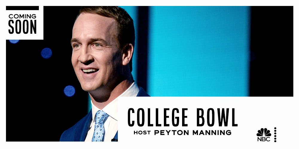 Two-time Super Bowl champion Peyton Manning is set to host College Bowl, a quiz show where students compete for life-changing scholarships. Coming soon to NBC. https://t.co/OMyg2EL8Wn