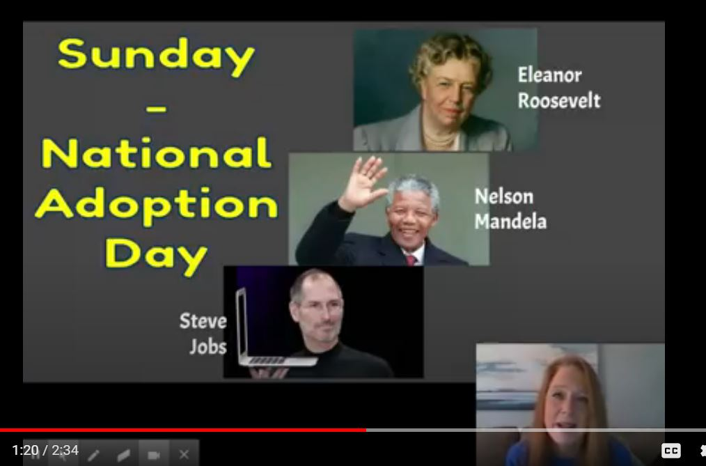 Thanks @kdaly0705 for celebrating all families during the morning announcements with a shoutout to #NationalAdoptionDay.  I did not know that Nelson Mandela, Eleanor Roosevelt, and Steve Jobs were adopted.  #LearnSomethingNewEveryday #Inclusivity #RepresentationMatters