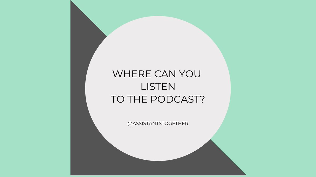 You can listen to the podcast anywhere you like to listen to podcasts. You can also listen to it on the website - link in bio.   #assistants #executiveassistant #podcasts #assistants #assistant https://t.co/9USSynzOaa