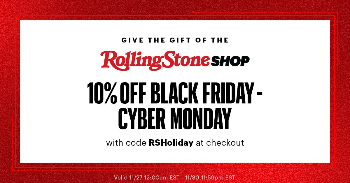 Here's a little gift from our friends @RollingStone. 10% off your order from the #RollingStoneShop with code RSHoliday at checkout. Enjoy!