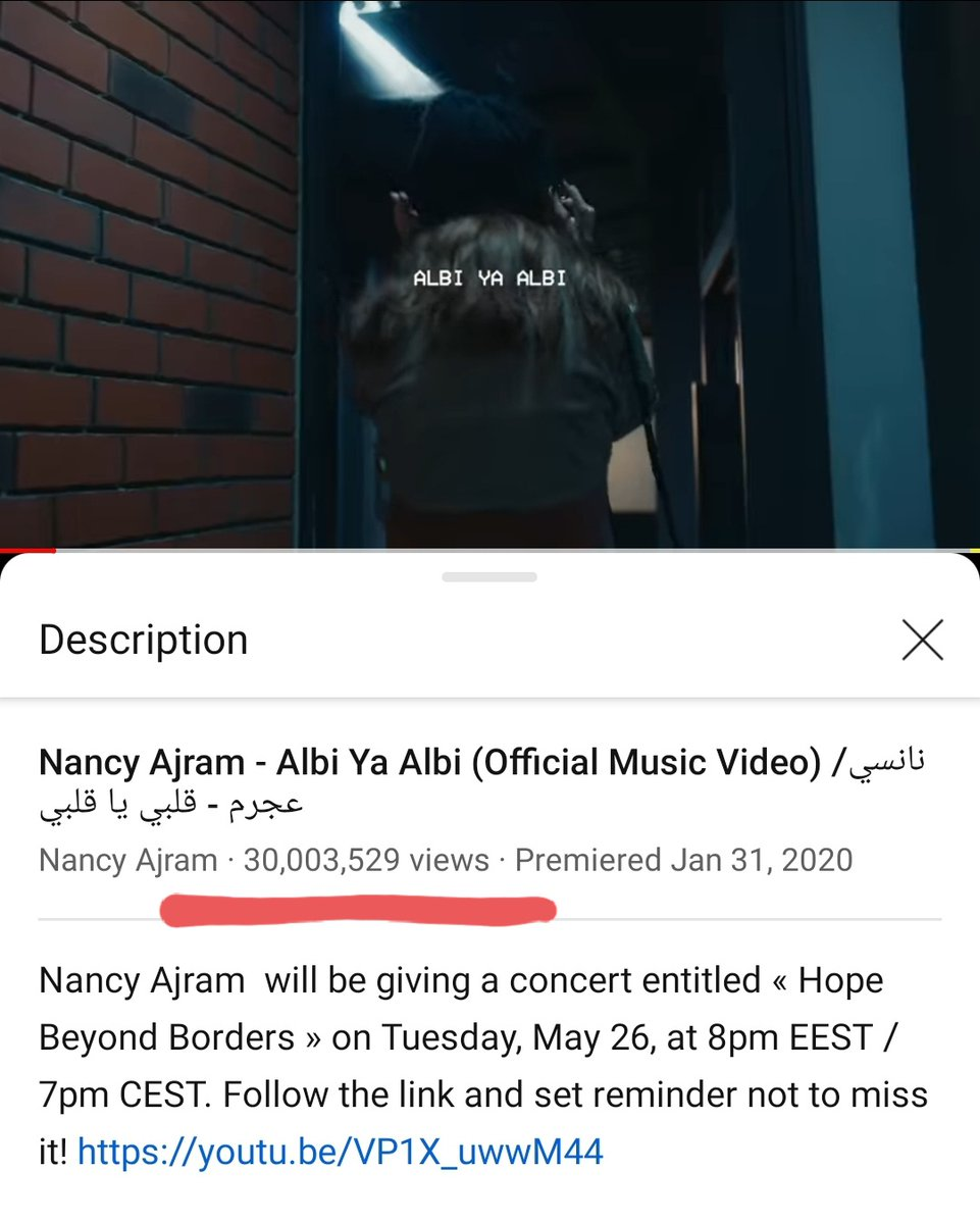 Another Huge Success in 2020 for The One and Only @NancyAjram  30 Million Views on @YouTube  for The Masterpiece #ALBIYAALBI