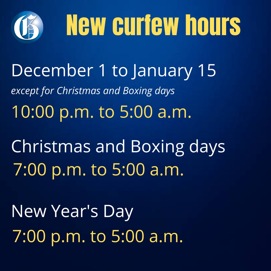 Prime Minister Andrew Holness has announced tighter curfew hours for the Christmas and New Year's holidays. Read more:  #GLNRToday