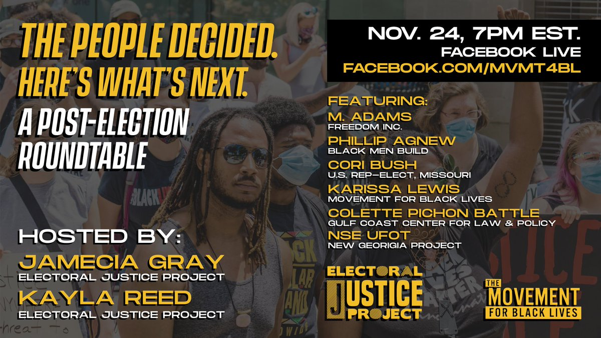 We all know that one person who's late to know about everything. So this tweet is to make sure that's not you today 💀  #M4BL Post-Election Roundtable coming up tonight at 7 PM EST stream live on Twitter, Facebook, and Youtube.