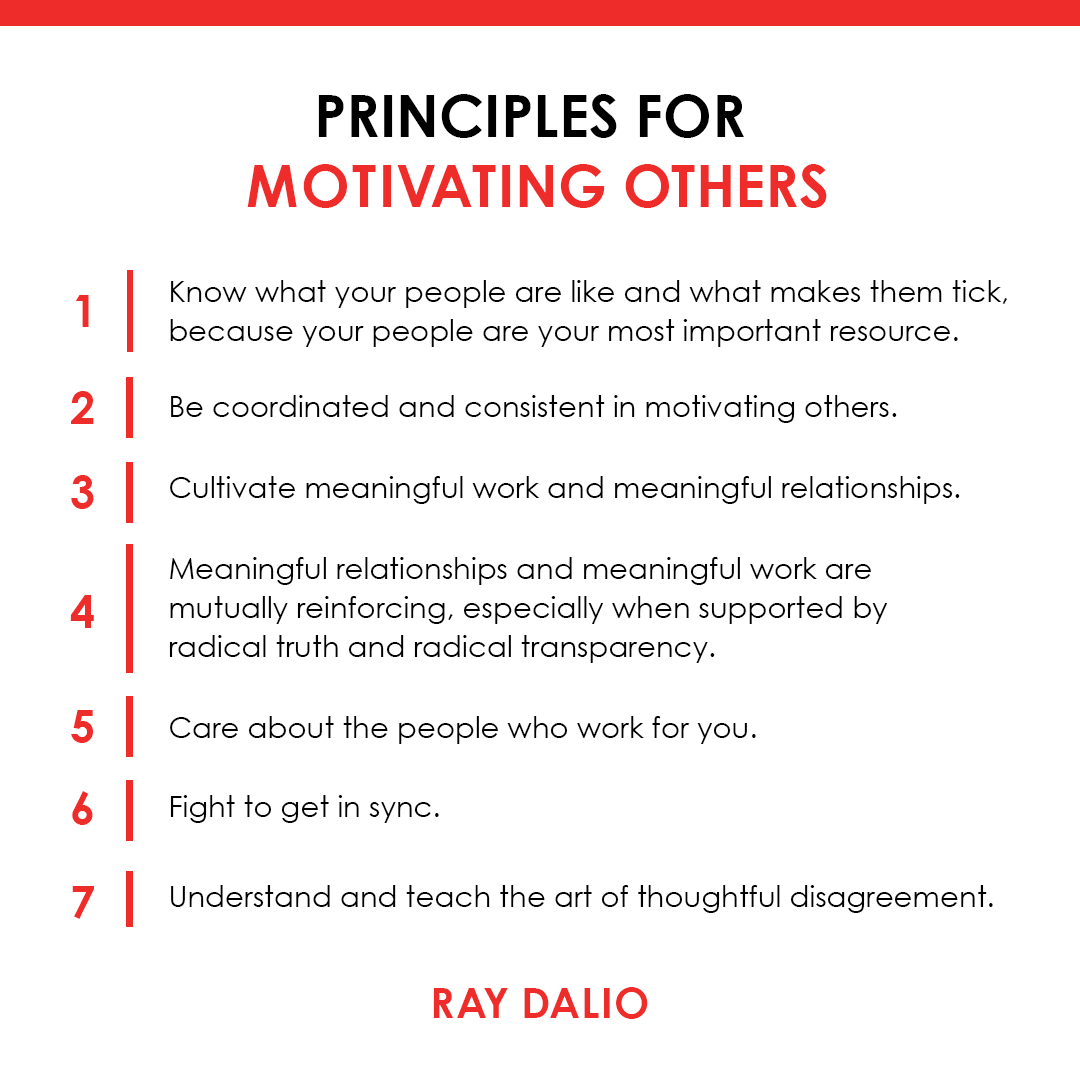 Many of you know that I consider the people I work with at Bridgewater to be like an extended family built on the foundations of meaningful work and meaningful relationships. If you want some of the principles that I've found helpful for motivating my team, they follow. (1/2) https://t.co/AlCmphCC1R